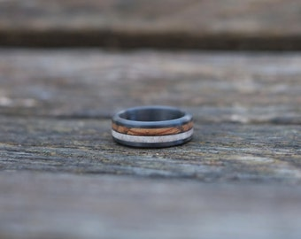 Wood Ring - Whiskey Barrel Wood, Carbon Fiber Band