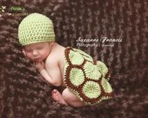 Turtle Set - Newborn Prop - Boy Photo Prop - Girl Photo Prop - Winter Hat - Turtle Hats - knit hats - Baby Hats - Animal Hats - Crochet Hats