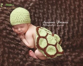 Turtle Photo Prop - Newborn Hat - Turtle Costume - Turtle Hat - Newborn Turtle Set - Baby Hats - Newborn Crochet Outfit - Crochet Turtle