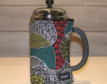 French Press Coffee Cozy in Australian Aboriginal Designer Print French Press Wrap in Australian Indigenous Designer Fabric