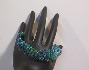 Green/blue beaded crocheted bracelet