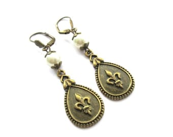 Fleur de Lis earrings jewelry off white pearl with antique bronze brass leverback earwire, oval charm earrings, french lily