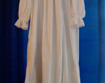 Victorian Nightgown Antique 1900s White Embroidered Long Gown Vintage
