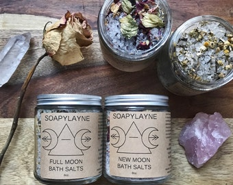 BATH SALT, moon phase herbal bath soak set, vegan bath salts- Moon Rhythm Bathing