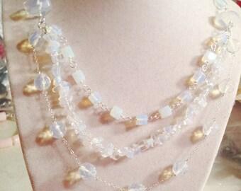 Opalite Necklace - Statement Necklace - Sterling Silver Jewelry - Gemstone Jewellery - Multi Strand - Fashion - Chain