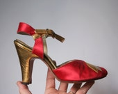 1940's High heel shoe, tiny dancing shoe, ONE red satin shoe