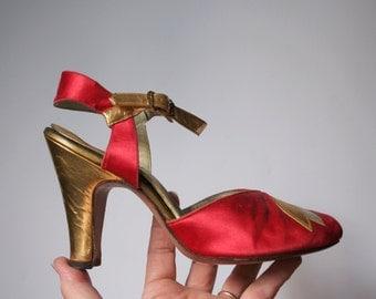 1940's High heel shoe, tiny dancing shoe, ONE red satin shoe