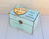 Rustic Recipe Box Painted and Distressed in the COLOR of YOUR CHOICE and Heart or Mason Jar