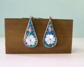 ON SALE Vintage Alpaca Silver Earrings Multi color Turquoise Flower Mosaic Jewelry