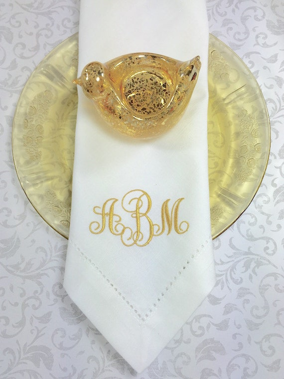 monogrammed embroidered cloth napkins ella by whitetulipembroidery