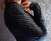 Black dragon scale shrug -  made to order  - scale mail armor - scale mail sleeves