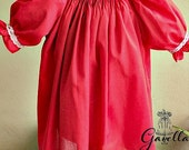 Girls Smocked batiste Bishop Dress with Ruffle Sleeves. . Holiday Portrait Dress.Red Smocked Dress.