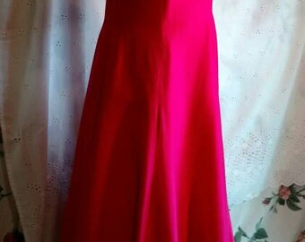 FORMAL DRESS, BRIDESMAID, Tea Length, Vintage, Wedding, Formal Event, Fuchsia Color, 1980 To 1990