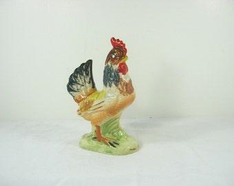 Vintage CHICKEN FIGURINE Rooster Statue Rustic Farm Kitchen