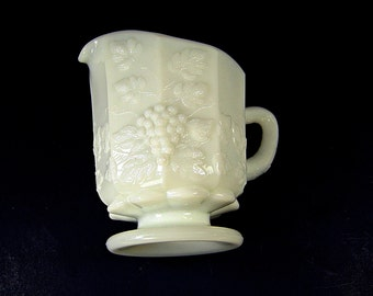 Vintage WESTMORELAND Paneled GRAPE CREAMER Milkglass Cream Pitcher Milk Signed