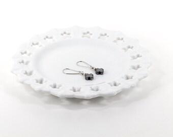 Hematite Cross Dangle Earrings