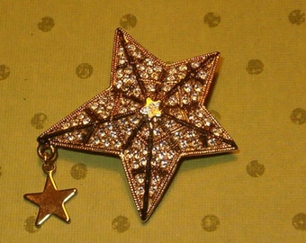 "Kirk's Folly Shooting Star Pin, Pave Rhinestones, Golden Metal, 1 7/8""W, w Dangle Star"