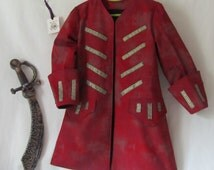 Child's Pirate Coat Only, Captain Hook - Peter Pan - Jack Sparrow, Fully Lined, All Cotton Fabric - Size 2 to 9, Made To Order Only