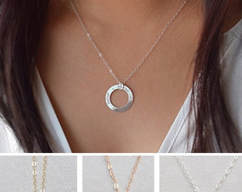 Engraved Open Circle Necklace, Family Circle Necklace, Silver, gold or rose gold, Olive Yew -1394