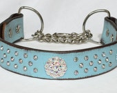 Turquoise Blue Leather Martingale Collar, Martingale Chain Collar, Martingale Leather Dog Collar, Dog Training Collar, Sizes Med to XL Large
