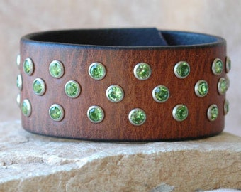Womens Brown Leather Jeweled Cuff Bracelet with Hand Set Lime Green Rivets and  Detailed Snap