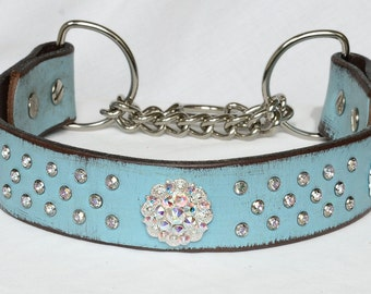 """Turquoise Leather Martingale Collar, Martingale Leather Chain Collar, Dog Training Collar, Sizes Med to XL Large 12 -23"""""""