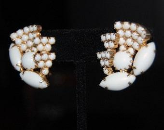 vintage 1950s clip on earrings chalk white rhinestones