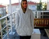 Hooded Sweater, Grey Sweater, Hoodie Sweater Oversize Knitting Wool Sweater, Mens Sweater, oversized sweater, Plus Size Sweater with Hoodie