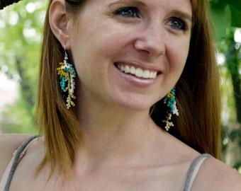 Coral Beadwork Earrings, Seed Bead Tassel, Coral Branch Earrings, Turquoise Beaded Earrings, Silver Earrings