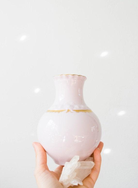 Mid Century Rose Quartz and Gold Glazed Porcelain Vase // Hutschenreuther West Germany