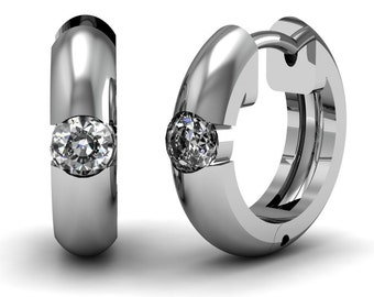 Diamond Bezel Set Hoop Earrings 0.46 ct in White Yellow Rose Gold | made to order for you within 5-7 business days