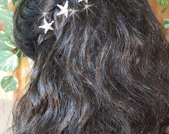 Starfish Hair Pins, Wedding Hair Pins,  Rhinestone Bridal Hair Piece, Beach Wedding,  Starfish Hairpins for Beach Wedding,