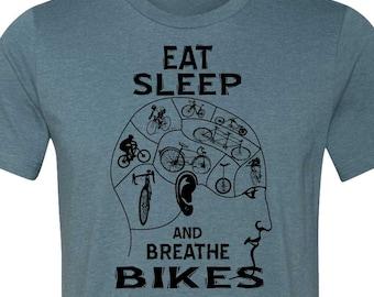 Bicycle T-shirt-BIKE MANIAC-Road Bike T-shirt, Mountain Bike T-shirt, Cycling tee, Bicycle gift for him, Bike gift-Heather Blue