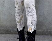 Dragonfly Leggings - LOTUS Flowers Original Art Legging by Carousel INk - YOGA Womens Leggings - Tights