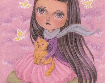 ON SALE 50% Discount, Blythe Doll Inspired Cute Art for Girls' Room and Nursery, Whimsical Original Pencil Drawing of Girl with Ginger Cat