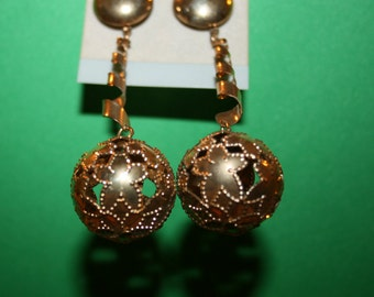 Vintage 70's Post Earrings -  Dangles and Globes - Gold tone
