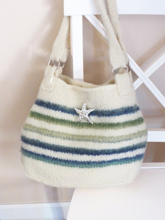 Felted Purse Knitting Patterns : Knit Bag Pattern Felted Purse Iris Stripe Knitting Pattern