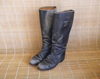Vintage Lady's Black Leather Riding Boots Size EUR 37 US Woman 6 1/2
