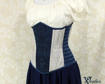 "Raven Wizard House Inspired Underbust Corset - Solid Front, Blue & Silver - Corset Size 26, Best Fits Waist 29-31"" - Ready to Ship"
