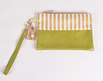 Green & Gold Stripe Wristlet Clutch
