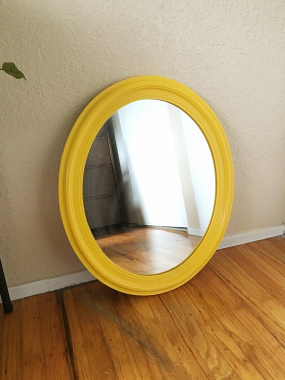 Large retro yellow oval hanging mirror for Hanging a large mirror
