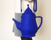 Teapot Bag Dark Blue Felt Bag