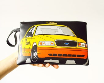 SALE New York Taxi Bag Black Leather Clutch