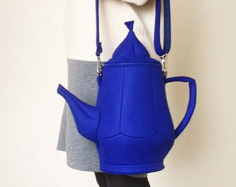 Teapot Bag Dark Blue Felt Bag