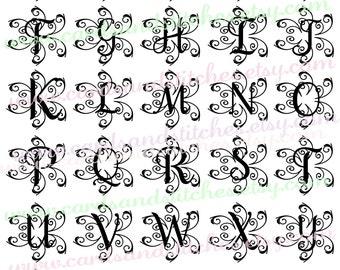Monograms SVG - Swirl Monograms SVG - Digital Cutting File - Instant Download - Graphic Design - Svg, Dxf, Jpg
