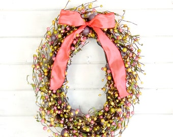 Easter Wreath-READY to SHIP-Easter Home Decor-Spring Wreath-Spring Door Decor-Easter Egg Holiday Wreath-Large Door Wreath-Scented Wreaths
