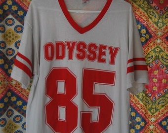 Vintage Jersey Odyssey 85 Soft Thin Tshirt Tee Shirt Red White Vneck