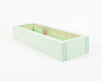 Wood Trough, Centerpiece, Display, Storage Bin, Wood Bin - Jade, White, Peach, Driftwood, Charcoal - Custom Colors - Color Stain - 16 Inch