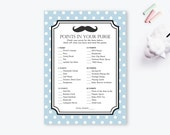 INSTANT DOWNLOAD - Baby Shower Game, Points in Your Purse, Mustache, Boy Baby Shower