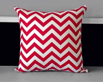 "Pillow Cover - Red White Chevron 20"" x 20"", Ready to Ship"